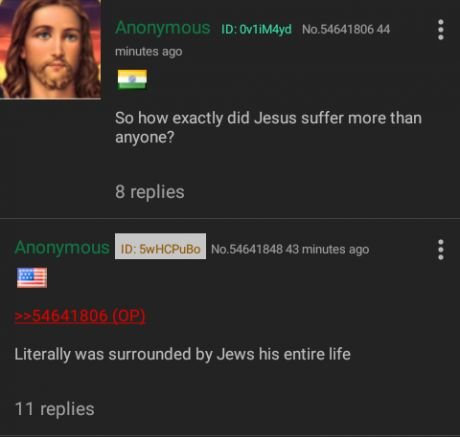 A hilarious greentext about Jesus being surrounded by jews.