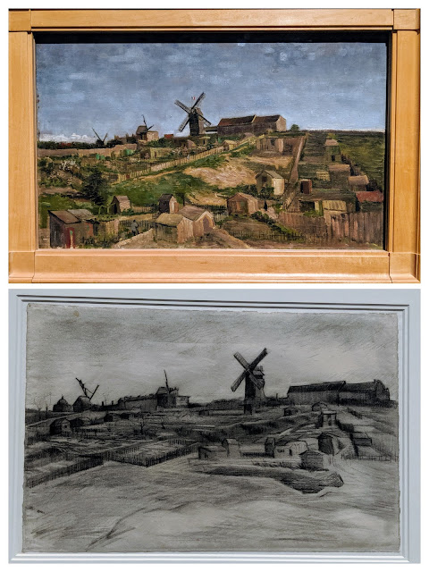 A sketch and a painting of the same view of Montmartre by Vincent van Gogh