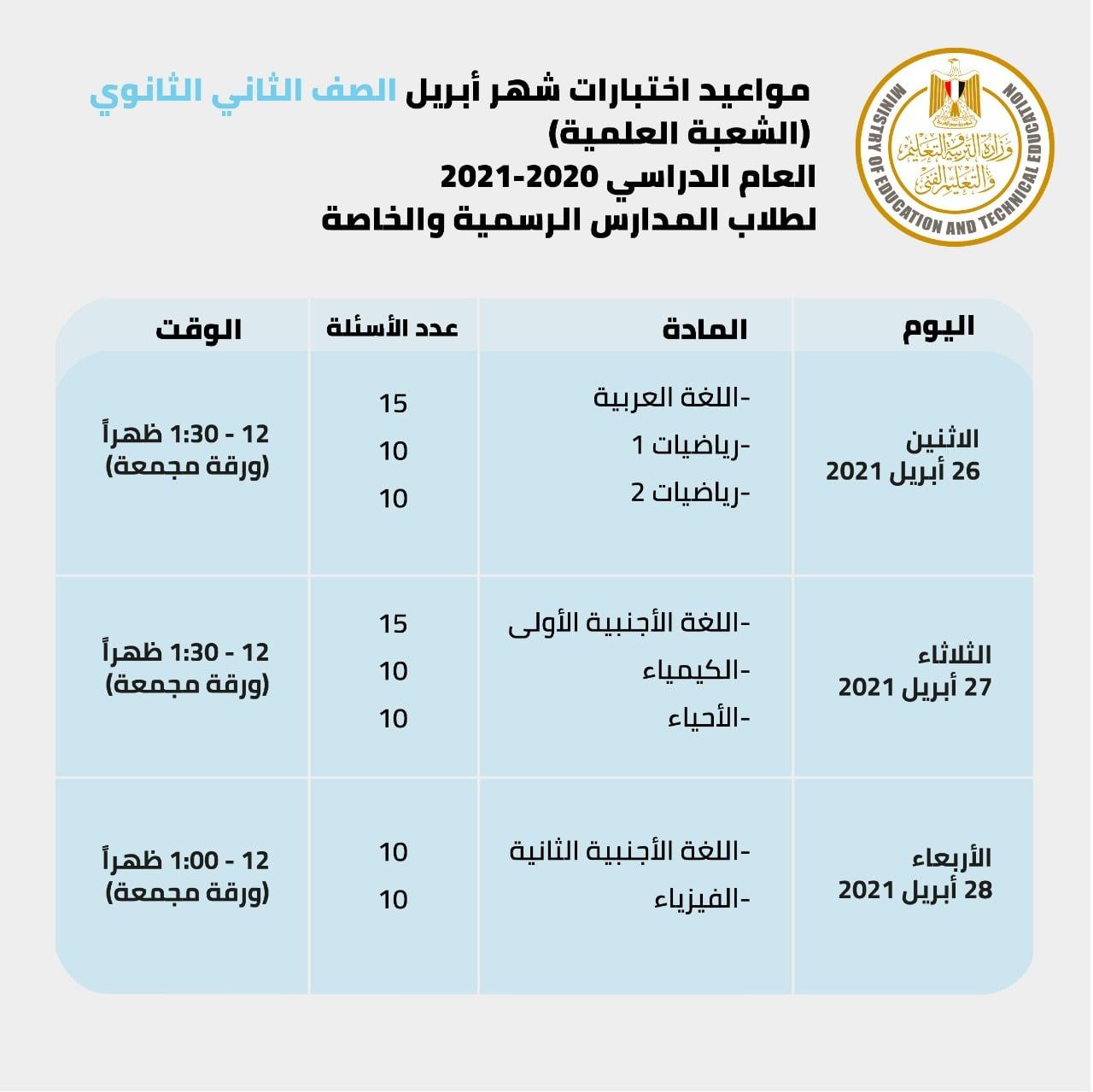 وزير التعليم:  امتحانات أبريل في مواعيدها 4