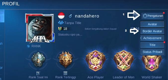 cara memasang border avatar ml