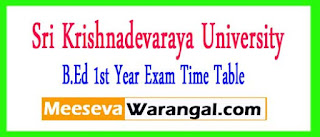 SKU B.Ed 1st Year Exam Time Table 2017