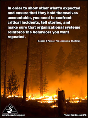 In order to show other what's expected and ensure that they hold themselves accountable, you need to confront critical incidents, tell stories, and make sure that organizational systems reinforce the behaviors you want repeated. –Kouzes & Posner, The Leadership Challenge