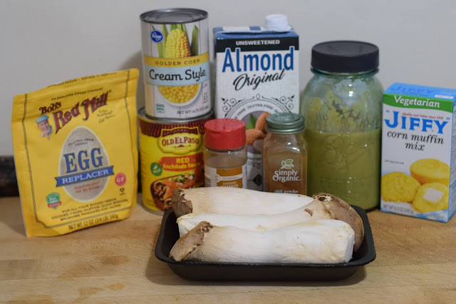 The ingredients needed to make the Vegan Chicken-less Tamale Casserole Recipe