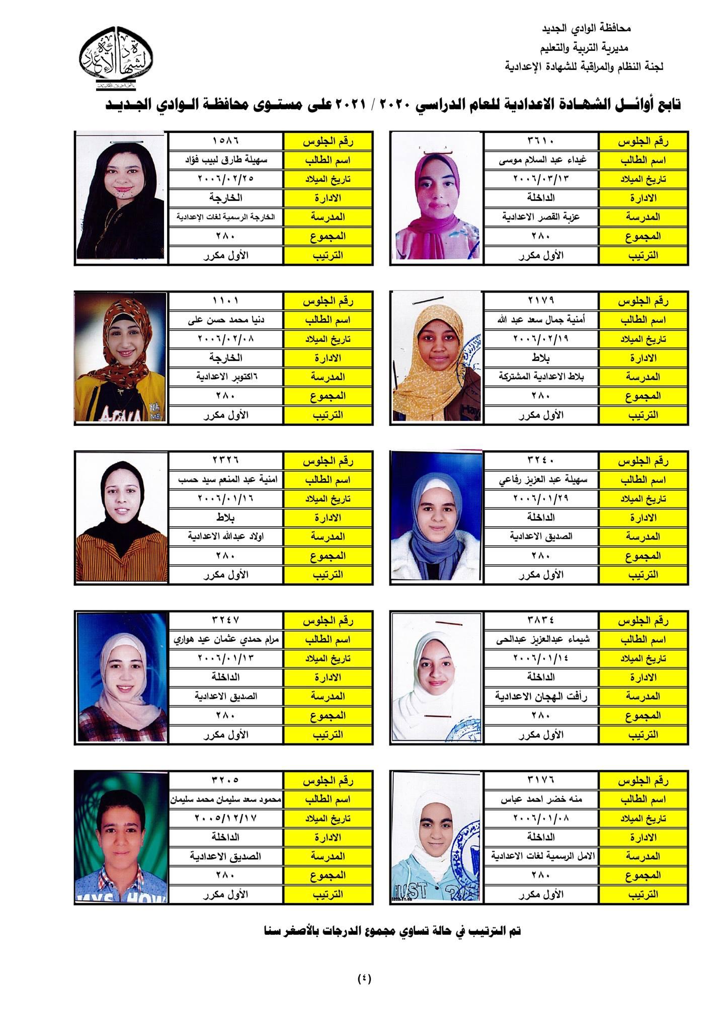 نتيجة الشهادة الإعدادية 2021 محافظة الوادي الجديد  8