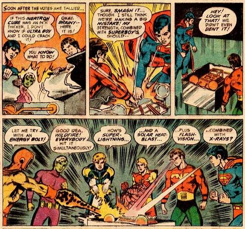 panels from Superboy starring the Legion of Super-Heroes #213 (1975). Property of DC comics.