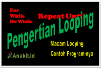 pengertian looping for, pengertian looping while, pengertian looping do while, dan contoh looping sederhana