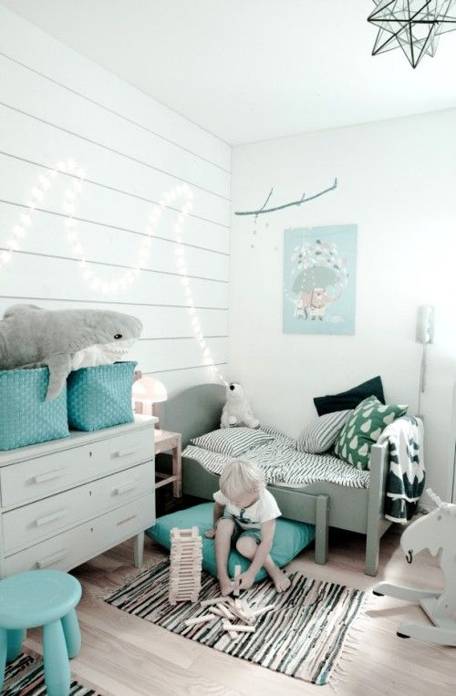 soft grey and blue kids room