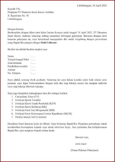 Contoh Application Letter Untuk Field Collector (Fresh Graduate) Berdasarkan Informasi Media Cetak