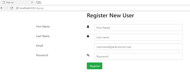 Spring Boot Register New User Page