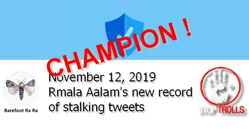 On November 12, Rmala Aalam, aka Ramla Akhtar, under @barefootRamster, went over 200 stalking tweets charging one single person and got her personal record of 35 tweets against this target, in just one day. Meanwhile, she continued spamming women NGO's, Police, Pakistani and French authorities.  This article presents the list of  her November 12, posts which were reported to Twitter.