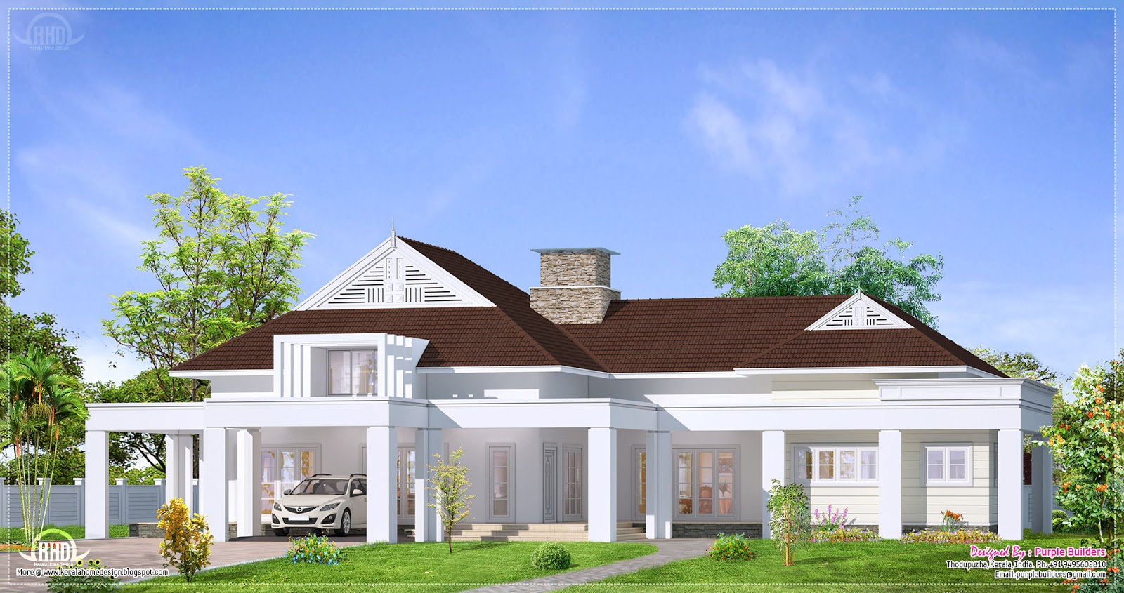 Single floor luxury bungalow elevation kerala home for Colonial style home design in kerala