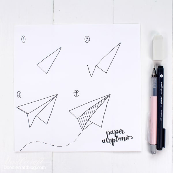How to Draw a Paper Airplane in four easy steps above! This would be so cute on some snail mail too!