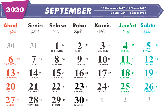 Download Kalender September 2020