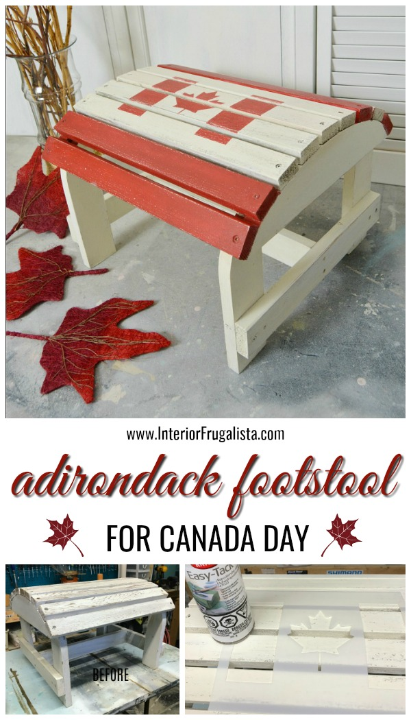 Canadian Maple Leaf Adirondack Footstool