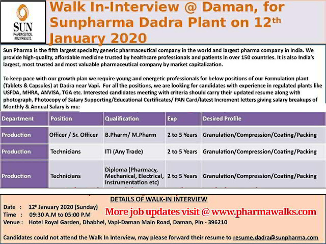 Sun Pharma walk-in interview for multiple positions on 12th Jan' 2020 @ Daman