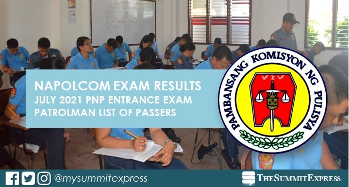 LIST OF PASSERS: PNP Entrance July 2021 NAPOLCOM exam result