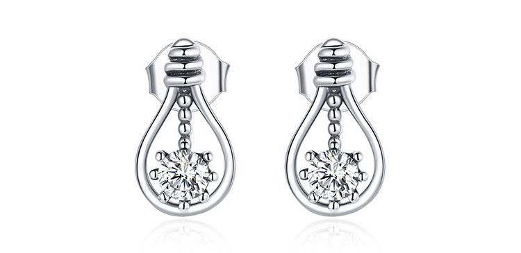 亮點燈泡 925純銀鋯石耳環