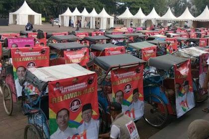 Prabowo Kampanye Di Serang, Ratusan Tukang Becak Gelar Aksi Dukung Jokowi - Ma'ruf Amin
