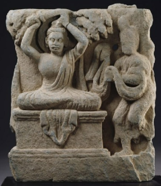 Bodhisattva Siddhārtha cutting his hair in renunciation Gandhara, 1st century CE, Ashmolean Museum, Oxford