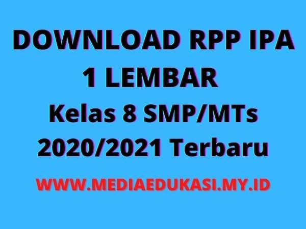 RPP IPA 1 Lembar Kelas 8 SMPMTs K13 Revisi 2020