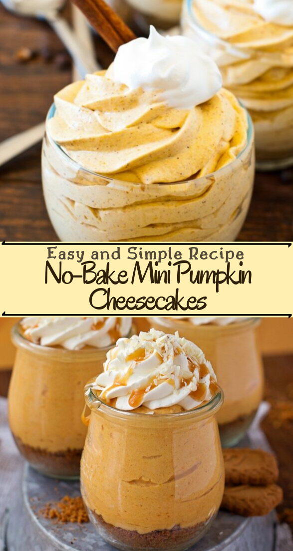 No-Bake Mini Pumpkin Cheesecakes #desserts #cakerecipe #chocolate #fingerfood #easy