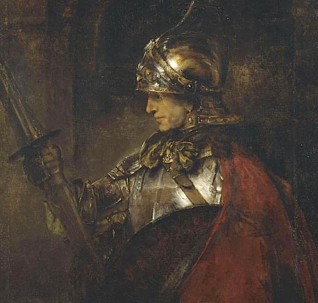 Rembrandt Harmenszoon van Rijn (1607-1669) Homme en armure, 1655 Huile sur toike Kelvingrove Art Gallery and Museum, Glasgow.