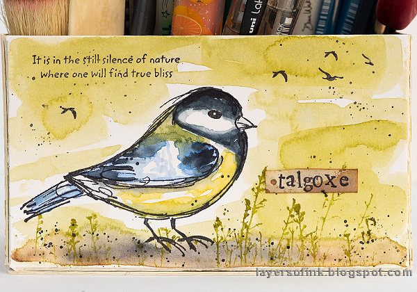 Layers of ink - DIY Watercolor Birds Pen Holder by Anna-Karin Evaldsson. Watercolor great tit.