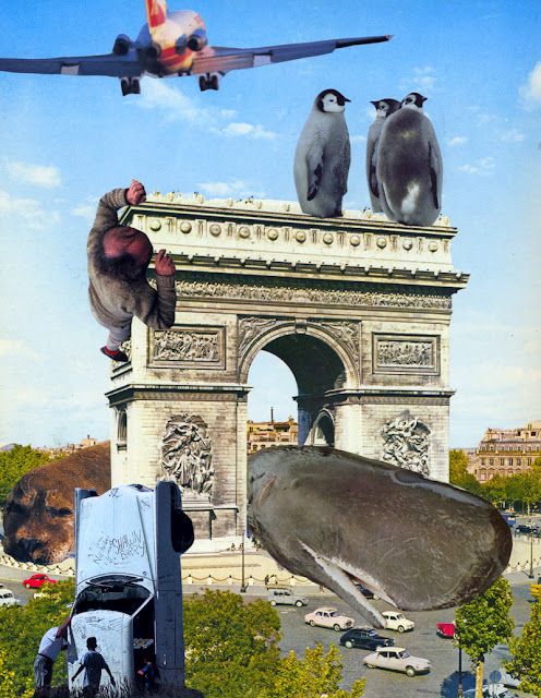 Collages from altered Paris guidebook