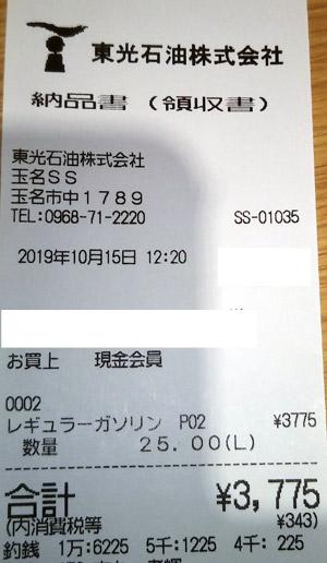 東光石油(株) 玉名給油所 2019/10/15 のレシート