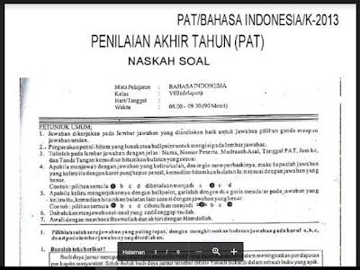 Unduh Soal Dan Kunci Jawaban Pat Ukk Bahasa Indonesia Smp Kelas Viii 8 Semester 2 Genap Guru Jumi
