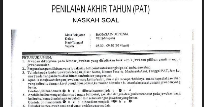 Unduh Soal Dan Kunci Jawaban Pat Ukk Bahasa Indonesia Smp