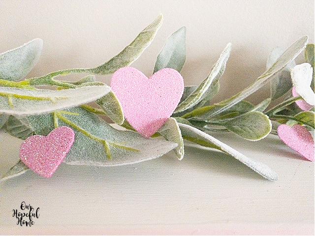 pink glitter hearts lambs ear garland