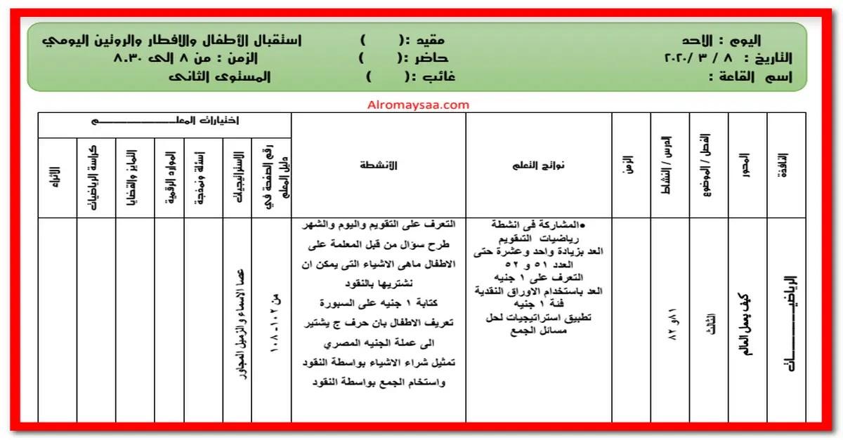 تحضير المستوى الثانى من الاحد 8 مارس الى الخميس 12 مارس