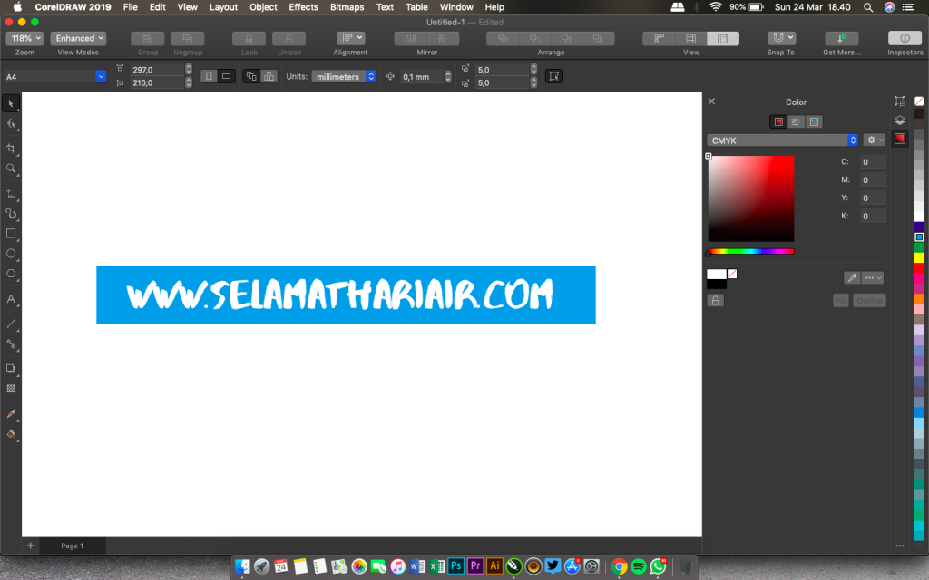 tampilan Corel Draw 2019 for Mac