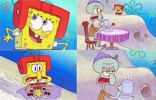 Polosan meme spongebob dan patrick 28 - spongebob mengejek squidward saat main ski