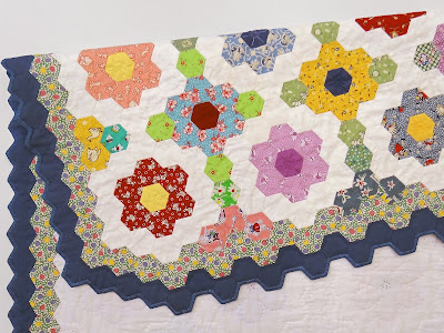 Mama's Garden, Hexie Quilt by Robin Atkins, hand pieced, embroidered, quilted; detail