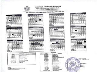 Kalender Pendidikan 2018/2019 Untuk Madrasah