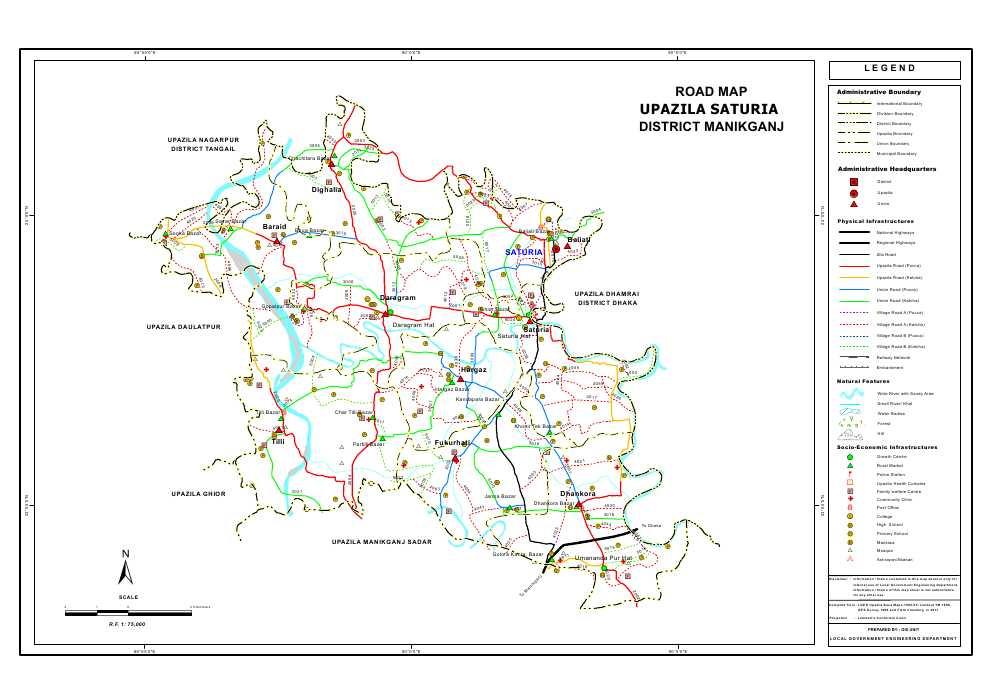 Saturia Upazila Road Map Manikganj District Bangladesh