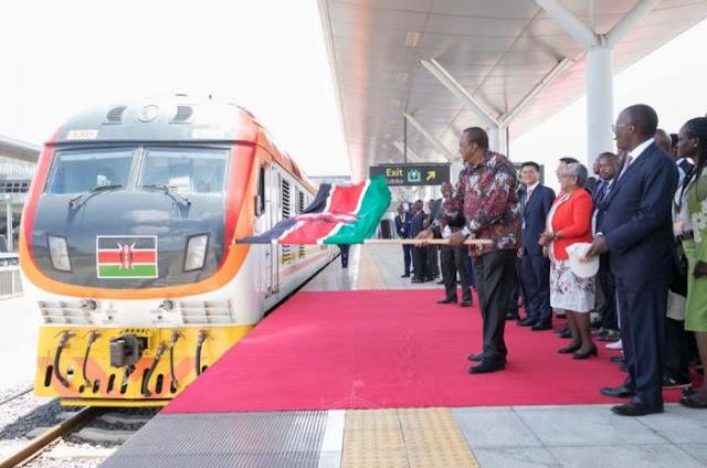 President Uhuru Kenyatta officially opening SGR. PHOTO | PSCU