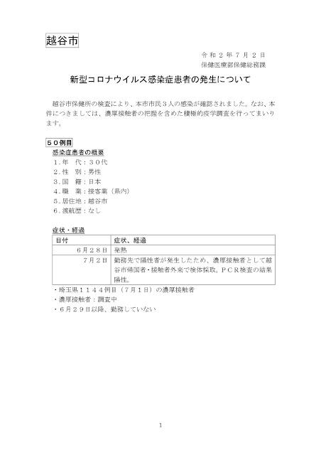 新型コロナウイルス感染症患者の発生について(7月2日発表)