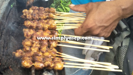 FUEL PENTOLS: Like satay, meatballs are served in skewers and burnt but this is called roasted pentol (21/2). Photo of Asep Haryono
