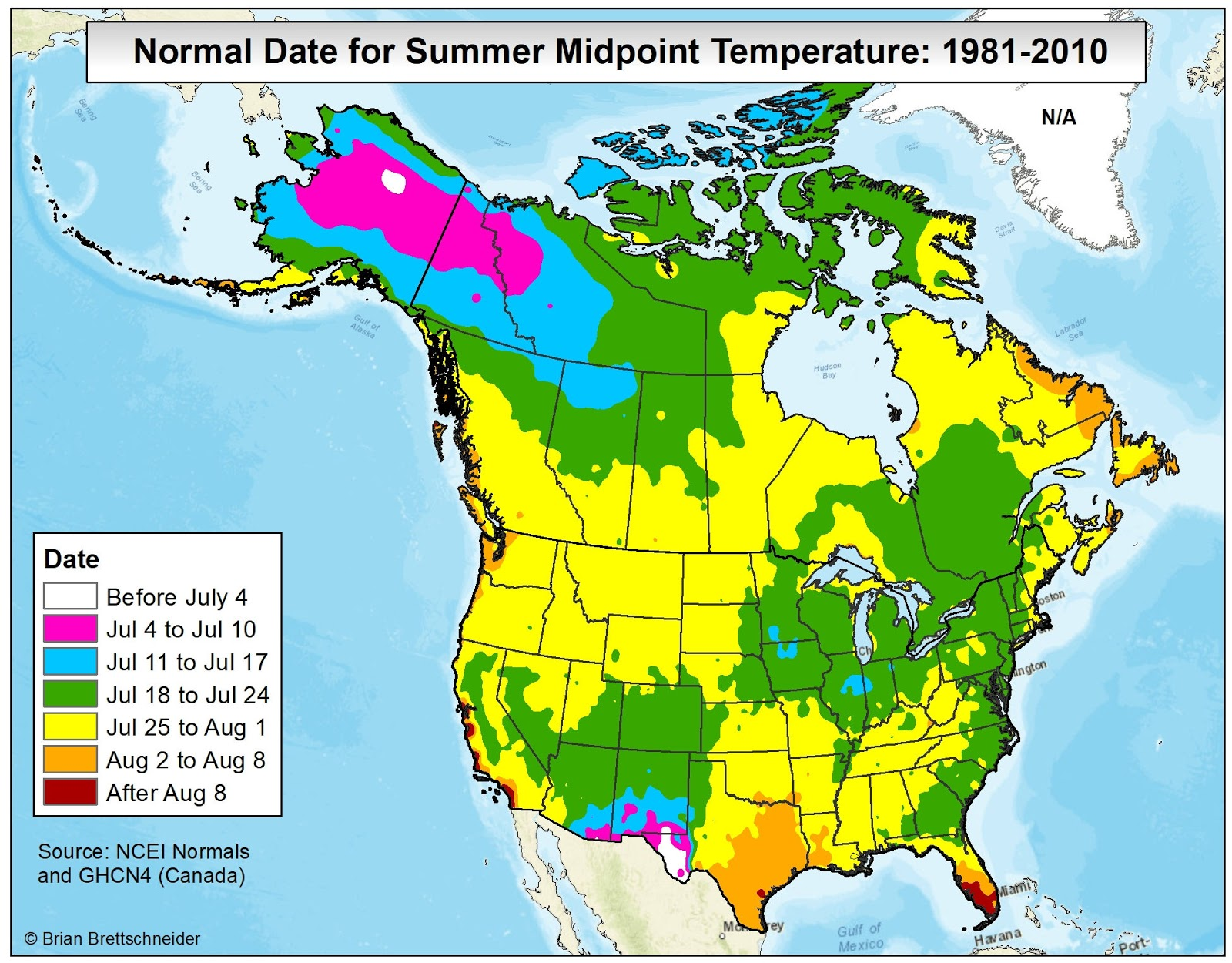 Brian Bs Climate Blog Average Annual High Temperature Vs - Us summer temperature map