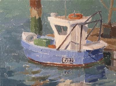 #55 'Camber Docks, Fishing Boat' 6×8″