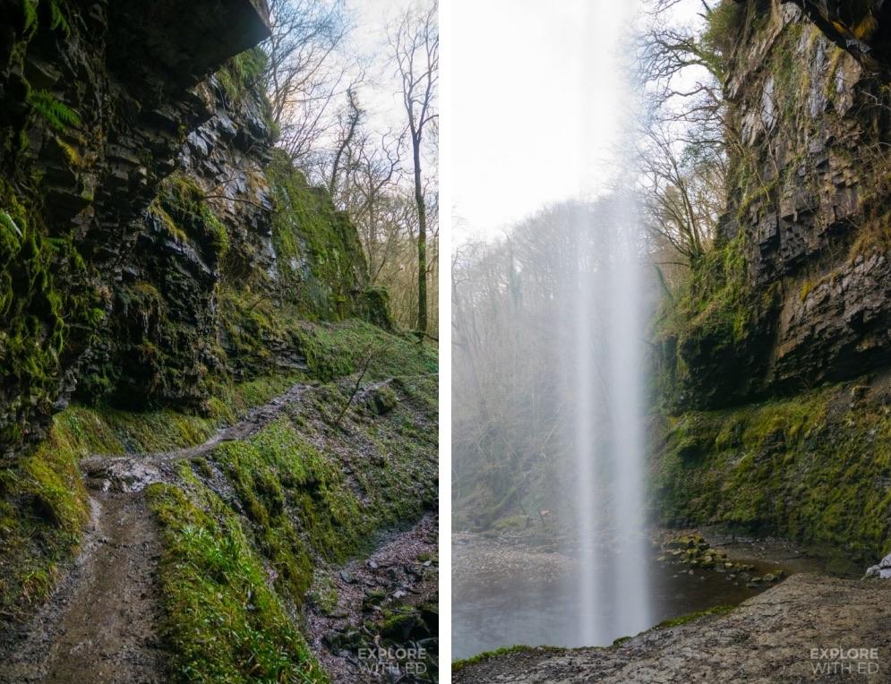 Walking behind Henrhyd Waterfall in Waterfall Country