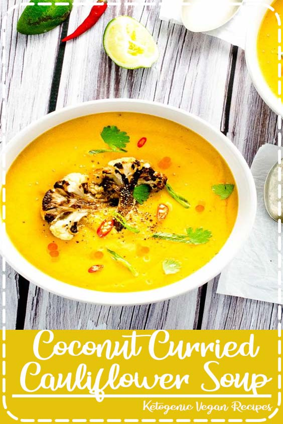 This pretty Coconut Curried Cauliflower Soup is as healthy as it is delicious Coconut Curried Cauliflower Soup