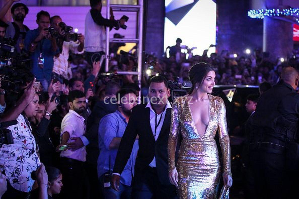 Deepika Padukone Promoting XXX: Return of Xander Cage in India in Golde Gown