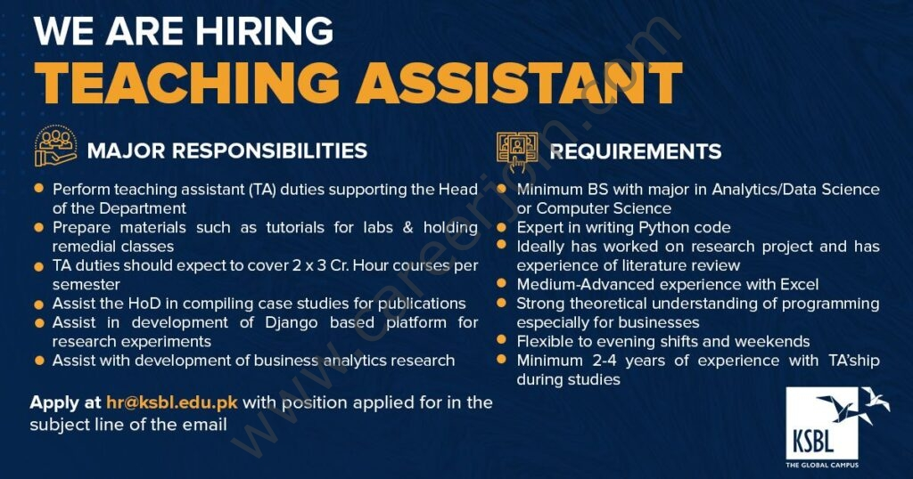 Karachi School of Business & Leadership KSBL Jobs 2021 in Pakistan