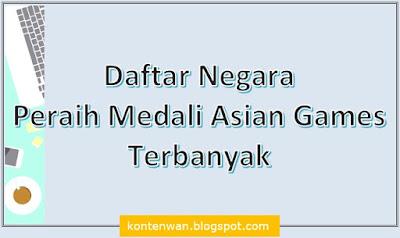 Gambar Posting Daftar Negara Peraih Medali Asian Games Terbanyak
