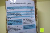 Verpackung hinten: Kichererbsennudeln BIO (1x250g) aus 100% Kichererbsenmehl 250g mit 21% veganem Protein von Five-Mills.de für Muskelwachstum und Muskelerhalt - Eiweißnudeln geeignet als Fleischersatz und Supplementersatz