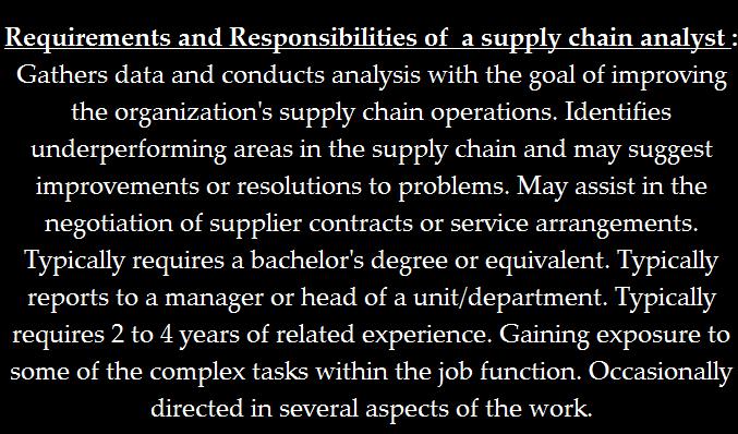 supply chain logistics analyst